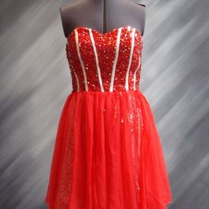 NEW-Short Red/Silver Heavy beaded dress - Size 8